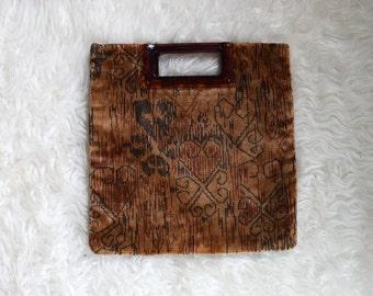 1960s Velvet Ikat Purse/ 60s Brown Boho Clutch/ Vintage Carpet Bag