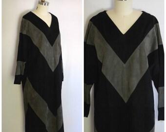 Avant Garde 1980s Dress/ Deadstock Bergdorf Goodman Dress/ Black Suede Chevron Dress/ Womens Size Medium