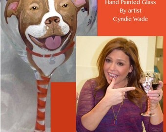 Dog Portrait Wine Glass Custom Painted Dog Portrait Celebrity Rachael Ray