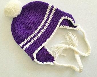 CLEARANCE! RTS Child Striped Laplander Hat - Violet
