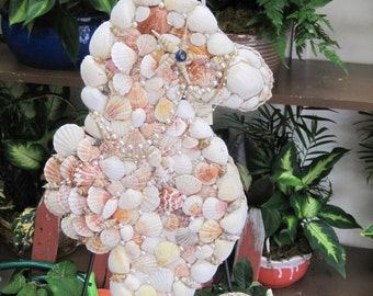 Mosaic Seahorse Made with seashells and found Items