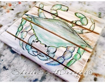 Blue Crab, Hand Painted on Distressed Wood for Coastal Living Decor with or without blue border