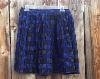 Retro Blue Pleaded Skirt Size 7-8 *Shipping Included