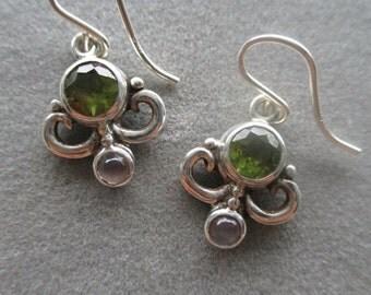 Sterling Silver Swirl Peridot & Moonstone Earrings, August Birthstone #ER111SS