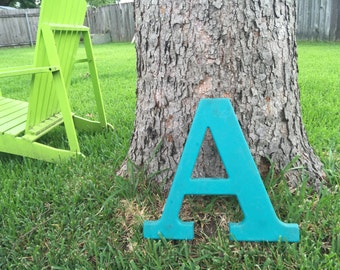 15 Inch Tall Reclaimed Plastic Sign Letter A Light Blue Teal Cyan FREE SHIPPING