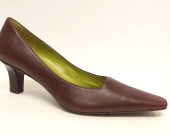 Vintage BRUNO MAGLI Brown Size 8 1/2 Leather Heels Pumps Shoes 8.5