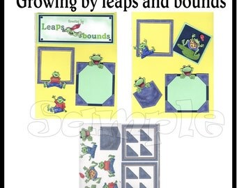 CLEARANCE SALE * Growing By Leaps and Bounds Scrapbook Paper Layout kit DIY Premade Scrapbook pages  embellishments Frog Paper piecing kit