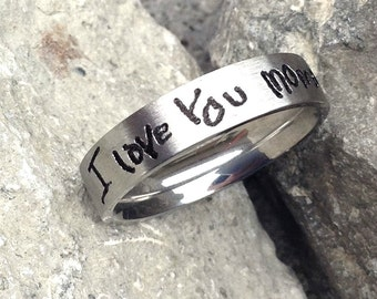 Custom Handwriting Stainless Steel Ring- Signature Jewelry- Memorial Jewelry- Personalized