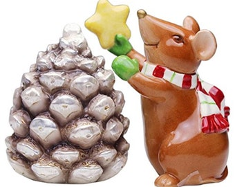 Mouse With Pinecone and tree Salt and Pepper Set