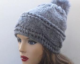 Gray Wool Hat. Hand Knit Hat. Winter Women Hat.