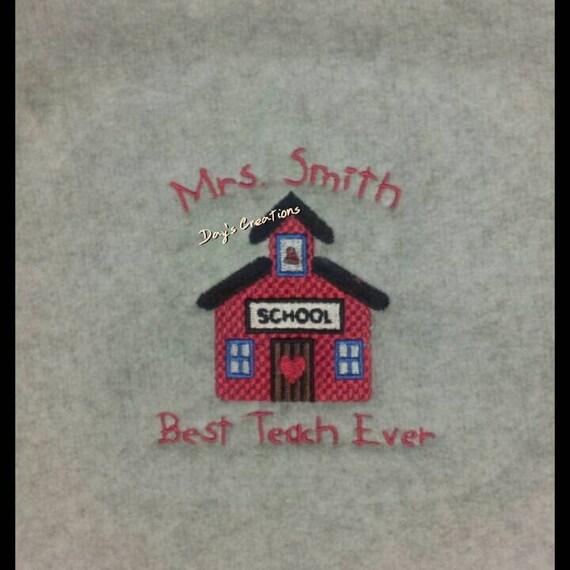 Personalized teacher tshirt - custom made teacher t-shirt - embroidered school house tshirt - teacher gift -end of school gift