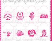 Stencils for cookies and cupcakes Star Wars ! set of 8 different designs with size options