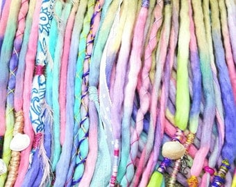Wool Dreadlocks Custom Wool Dreads Handmade Hippie Dreads Hair Extensions Wool Dreads Ombre Hair Accessories Set of 60