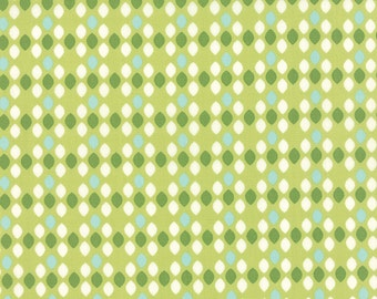 1/2 Yard - Summerfest Lime Green Ovals Fabric by April Rosenthal - 24036 16