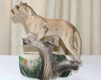 Vintage Lane and Company Ceramic Mountain Lion, Cougar Planter P-77
