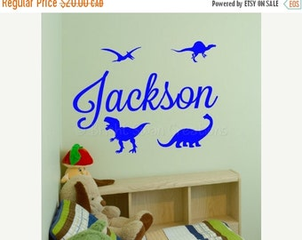 SAVE 50% ON SALE - Personalized name decal, dinosaur wall decal, wall decor, nursery decor, boy wall decor