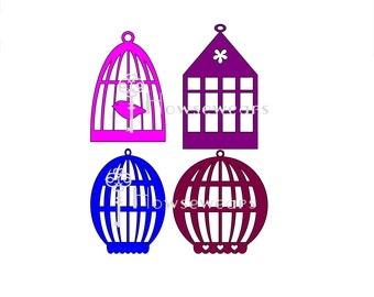 """Digital Cut File,""""Bird Cage Collection"""",approx. 3""""x4"""",SVG Format,Personal Cutting Machine,Die Cut File,Graphic Design,Immediate Download,SVG"""