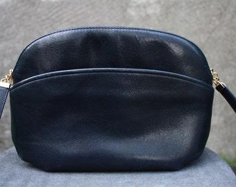 Vintage KORET Black Genuine Leather Shoulder Bag