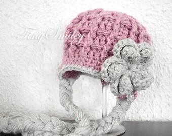Earflap Baby Hat, Earflap Girl Hat, Mauve Earflap Hat, Mauve Newborn Hat, Chunky Earflap Hat, Baby Girl Hats, Crochet Earflap Hat, Baby Hat
