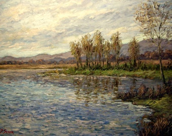 Original oil painting sunset Impressionist, lake, blue sky, clouds, winter, Italy, Tuscany, Sessa