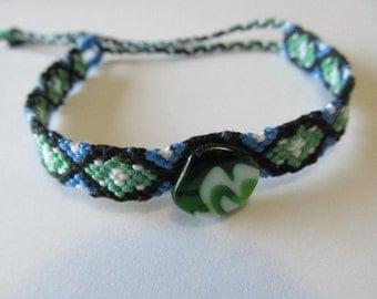 Aztec Pattern Green And White Glass Stone Embellished Friendship Bracelet