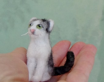 Miniature needle felted grey and white tabby cat