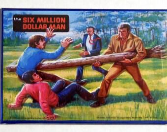 "Six MILLION DOLLAR MAN Metal Lunchbox 2"" x 3"" Fridge Magnet Art Vintage Tv Show"