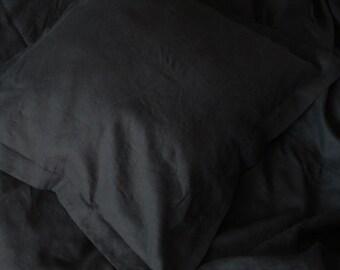 Black Linen Euro Shams/ Natural Linen/ Linen Accessories/ Euro Sham /Decorative Pillow/Pillow with Flange