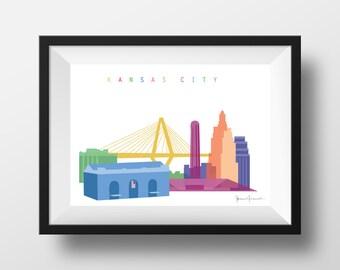 Kansas City Skyline Print - Two