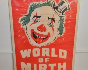 World of Mirth Vintage 1950s Circus Carnival Poster