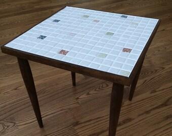 Mid Century Modern Mosaic Tile End Table