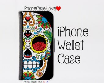 Sugar skull iPhone 6 Case - sugar skull iPhone 6 Wallet Case - sugar skull iphone 6 - sugar skull iPhone 6 Wallet