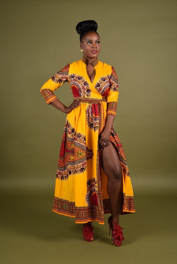 Yellow Dashiki Wrap Dress.