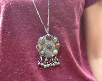 1960's large hippie style silver plate pendant on chain with natural cabochon stones.
