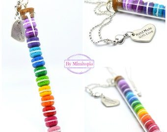 Macaron Necklace,Rainbow Macaron Necklace,Miniature Food Necklace,Polymer Clay Food Necklace,French Pastry Necklace