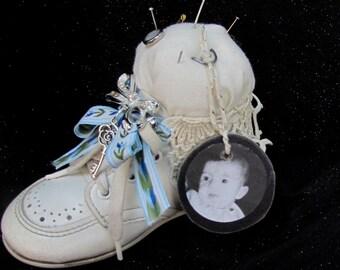 Altered Baby Shoe Pin Cushion Pincushion