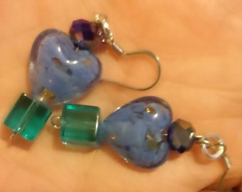 blue earrings in different blue tones