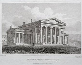 Antique Engraving of Joseph Bowers Residence Northampton Massachusetts Greek Revival Architecture