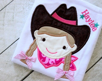 Cowgirl shirt only Girls Cowboy shirt Cowgirl birthday shirt with name Pink Cowboy girls top