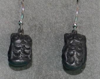 Owl Earrings, Oaxaca Black Clay, Sterling Silver Ear Wires, Dangle Earrings