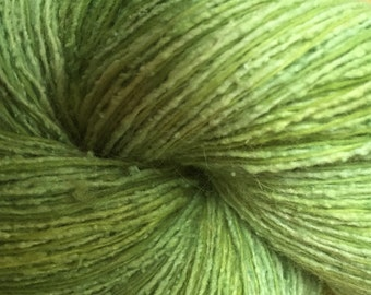 Spring green silk/nylon/angora/lambswool recycled hand-dyed yarn - 150 yds worsted