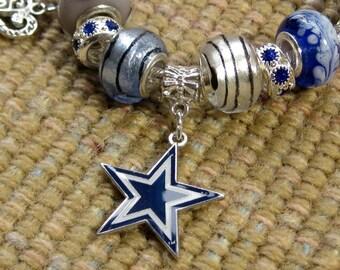 Dallas Cowboys Licensed Charm on a European Style Bracelet