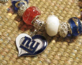 New York Giants Licensed Charm on a European Style Bracelet