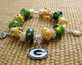 Green Bay Packers Licensed Charm on a European Style Bracelet