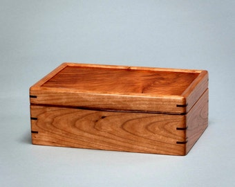 Wooden Box,  Keepsake Box, Stationery Box, Memory Box, Treasure Box, Wood Box for Storage. Cherry w/ Quilted Maple lid   Keeper 0216-013-011