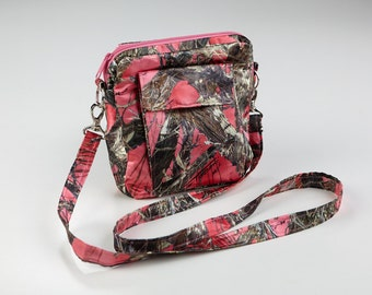 Mossy Oak Pink Camo Purse- Cross Body Purse-Pink Shoulder Bag- Crossbody Messenger Bag- Fabric Bag