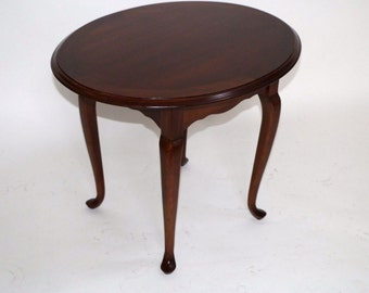 Lane Furniture Georgian Style Solid Hardwood Queen Anne Oval Side Table 25 Tall