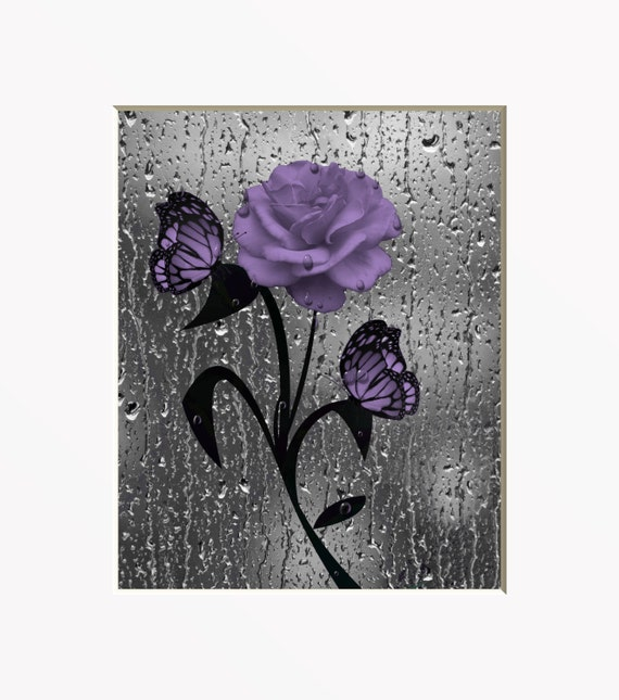 Purple Gray Rose Flower Butterfly Decorative Bathroom Floral
