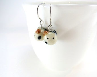 Calico Cat Gift Earrings Calico Cat Jewelry Tiny Cat Earrings Ceramic Animal Jewelry Gift Cat Lover Porcelain Jewelry Cat Lady Gift