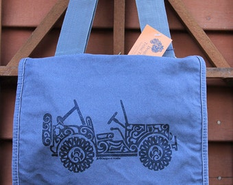 Jeep (SIDE VIEW) Tribal Tattoo Messenger Field Bag -  Screen Printed Original Design